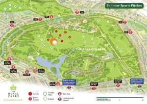 Map of London Softball in Regent's Park